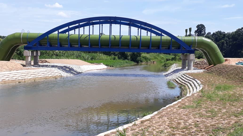 River improvement works sand container system Non-woven geotextile Erosion control mat
